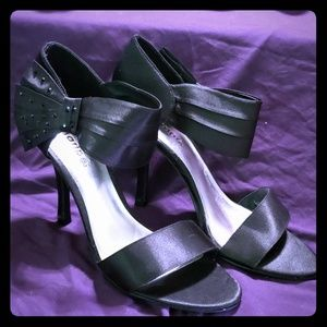 Beautiful Black Satin Maripe Open Toe Sandal